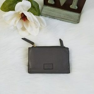Fossil Charcoal Grey Leather Trifold Wallet